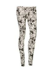 Terranovastyle.com - Women's elasticated jersey long leggings with all-over skull print