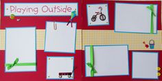 PLAYING OUTSIDE 12x12 Premade Scrapbook Pages - KiD BoY GiRL - park wagon bike playground. $15.00, via Etsy.