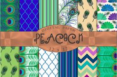 Peacock digital papers by Kiwi Fruit Punch on @creativemarket