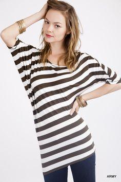 Assymetrical Stripe Shirt – Laney Lu's Boutique www.laneylus.com