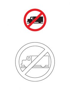 Truck prohibited traffic sign coloring page   Download Free Truck prohibited traffic sign coloring page for kids   Best Coloring Pages