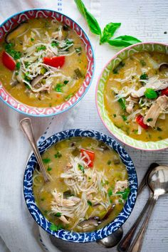 This Slow Cooker Thai Chicken Coconut Soup is loosely based on the classic Thai soup- Tom Kha Gai, but I& loaded it up with veggies and rice noodles to make it a easy, hearty and healthy weeknight meal. It& naturally gluten-free! Healthy Weeknight Meals, Healthy Soup Recipes, Easy Meals, Thai Recipes, Asian Recipes, Chicken Coconut Soup, Slow Cooker Thai Chicken, Healthy Vegetables, Veggies