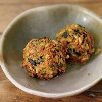 K-9-Meatballs have filling protein and brown rice, plus veggies and turmeric to help your pup digest!