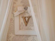 Framed initial = simple, beautiful wall decor for the nursery! #walldecor #nursery