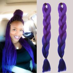 Purple & Blue Ombre Box Braids! Purple Rain Jumbo braiding hair!