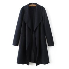 Navy Waterfall Collar Wool Blend Coat ($64) ❤ liked on Polyvore featuring outerwear, coats and wool blend coat