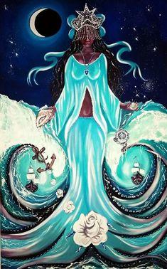 Beautiful Dark Art, Black Love Art, Black Girl Art, Oshun Goddess, Goddess Art, African American Art, African Art, Yemaya Orisha, Voodoo
