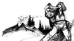 #Finnic Mustavalkoinen kuva, jossa Kullervo soittaa torvea ja pakenee (piirros)