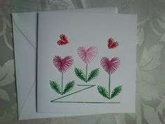 Paper Embroidery Greeting Card. Hearts design on a white square card.