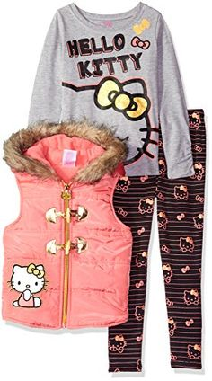 Hello Kitty Little Girls Toddler Puffer Vest with Gray Top and Black Bottom with Allover Print Coral 2T * You can find more details by visiting the image link.Note:It is affiliate link to Amazon.