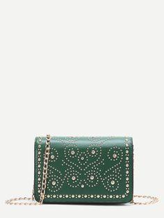 Shop Green Studded PU Chain Bag online. SheIn offers Green Studded PU Chain Bag & more to fit your fashionable needs.