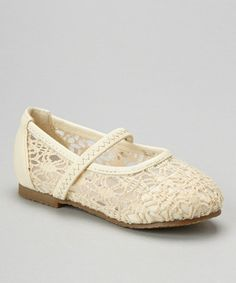 fef541983e7 Look what I found on  zulily! Beige Strappy Crocheted Flat by Lucky Top