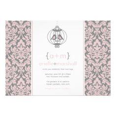 Motif rose et gris de damassé de mariage de cage à invitations