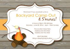 bonfire bug printable invitation template customize add text and