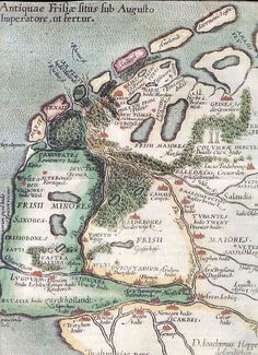 """63 BC – 14 AD - Antiquae Frisiae Situs Sub Augusto Imperatore, ut fertur – """"Location of Old Frisia under Emperor August, as it is told"""" - Map reconstructed by the Frisian lawyer and scholar Joachim Hoppers He was an advisor to the King of Spain. Vintage Maps, Antique Maps, European History, World History, Holland Map, Topographic Map, Historical Maps, Old Maps, Nose Art"""