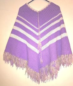 Vintage eighties lilac and white fringed poncho by VintageTwists