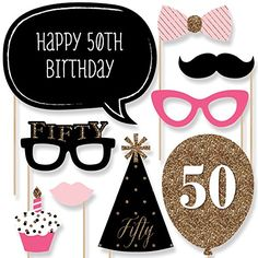 Chic 50th Birthday - Pink, Black and Gold - Birthday Photo Booth Props Kit - 20 Count Big Dot of Happiness