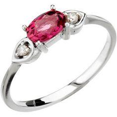 14k white gold pink tourmaline & diamond ring