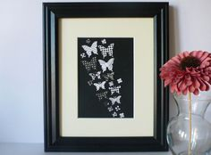 Butterfly Paper Wall Art Black and White 8 x 10 by Paper Wall Art, Butterfly Art, Black And White, Unique Jewelry, Frame, Handmade Gifts, Etsy, Vintage, Picture Frame