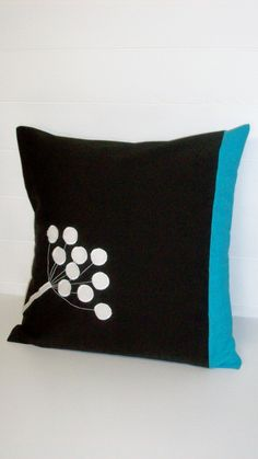Throw Pillow Cover with Flower Black and Turquoise () by PrairieApplique