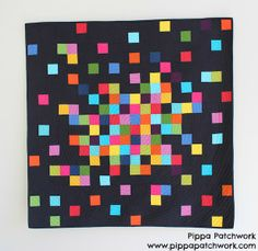 Moda Bake Shop: Pixelated Patchwork Quilt pattern with free instructions! Quilt Modernen, Geometric Quilt, Easy Quilt Patterns, Quilting For Beginners, Easy Quilts, Free Motion Quilting, Quilt Tutorials, Square Quilt, Quilting Designs