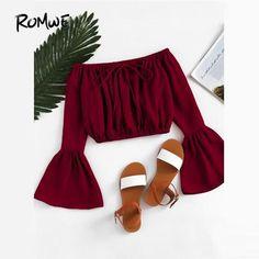 f5bfa8b295555b ROMWE Bardot Fluted Sleeve Drawstring Crop Top 2018 New Spring Long Sleeve  Top Burgundy Off the
