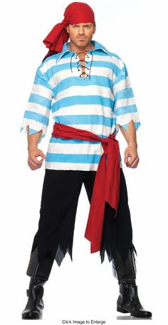 Pirate Costume for Men - lace up shirt