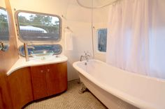 Bath in 1973 Airstream Sovereign with a modern restoration in Santa Barbara, California.