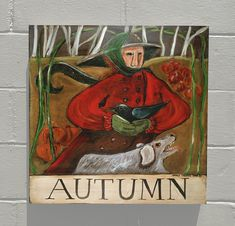 "Large NANCY THOMAS ""Autumn"" vintage print on wood 14 x 15 man bird dog folk art Oil Painting Pictures, Pictures To Paint, Vintage Walls, Vintage Prints, Artist Bio, Primitive Folk Art, Painting Still Life, Months In A Year, Wood Print"