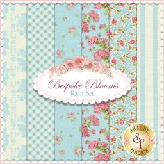 Bespoke Blooms 6 FQ Set - Rain Set by Brenda Riddle for Moda Fabrics: Bespoke Blooms is a floral collection by Brenda Riddle for Moda Fabrics. 100% cotton. This set contains 6 fat quarters, each measuring approximately 18