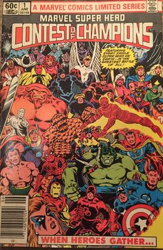 Marvel Super Hero CONTEST of CHAMPIONS #1 June 1982 ALPHA FLIGHT Sasquatch Guardian Northstar Aurora Snowbird Shaman Avengers X-Men Fantastic Four Grandmaster Death The Collector