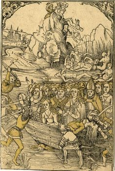 1500-1526 St Ursula and her companions: The martyrdom of St Ursula and her companions; Ursula wearing a crown, her chest pierced by an arrow; behind her on the boat a pope and a bishop and a large number of female figures being slain and attacked by the marauding Huns; in background male figures being forced to jump off a cliff; view of Cologne in left background. -British Museum