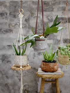 Die schlichten Blumenampel von Bloomingville sind stilvolle Pflanzenhänger, welche an der Decke befestigt werden und Pflanzen jeglicher Art schweben lassen.