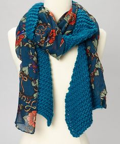 Take a look at this Lagoon Blue Knit Floral Scarf by The Sak on #zulily today! $17 !!