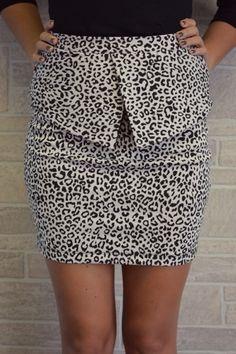 Leopard Peplum Skirt