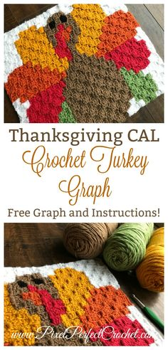 Need a quick and easy Thanksgiving decor crochet project? Check out this free corner to corner (C2C) crochet Turkey graph with instructions and join out Thanksgiving CAL to help you craft the perfect holiday-inspired pillow project! #Crochet #Thanksgiving #CornertoCornerCrochet #Turkey #Holidays