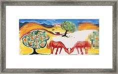 Red Horses and Apricot Trees Framed Print by Colleen Proppe White Bison, Apricot Tree, Hope Symbol, Red Art, Native American History, Frame Shop, Clear Acrylic, Valentine Gifts, Fine Art America