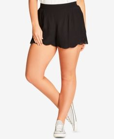 City Chic Trendy Plus Size Lace-Trim Shorts - Black 22W