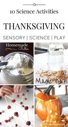 Set up a few of these fun and engaging Thanksgiving science activities, experiments, and STEM challenges this holiday season. Our Thanksgiving science ideas include pumpkin slime, dancing corn, cranberry structures, making homemade butter, and many more fun Thanksgiving themed science and STEM projects that are perfect for preschool, kindergarten, first grade, and early elementary age kids. Our Thanksgiving activities would also be great entertainment for Thanksgiving day with families.