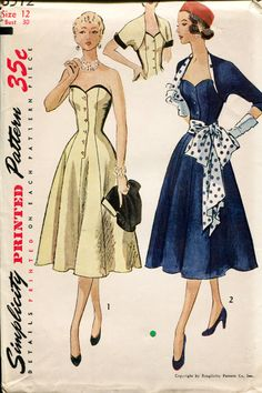 1950s Misses Strapless Dress Sewing Pattern Bustier Princess Cocktail Bolero…