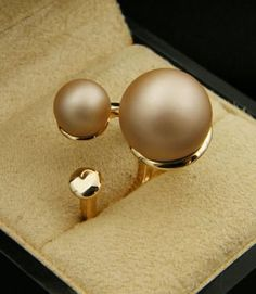 2017 New Pearl Rings Fashion Size Pearl Trident Ring Women Jewelry