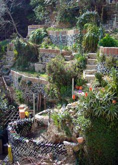My Ligurian Castle Garden - Hobby Farms Sloped Backyard, Sloped Garden, Backyard Patio, Hillside Garden, Terrace Garden, Steep Gardens, Roof Gardens, Landscape Design, Garden Design