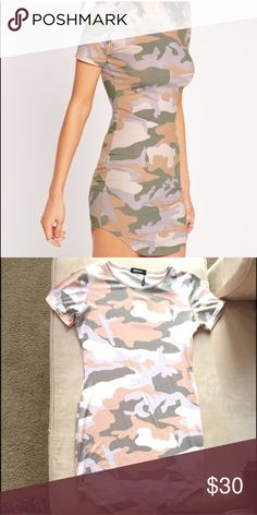 Missguided Camo Dress Misguided Camo dress only worn once, in excellent condition. UK 14 US 10. Curved hem, super cute with or without leggings. Missguided Dresses