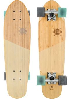 Features: Skate Cruisers Colour: Bamboo Almond Clear Griptape Mini wooden cruiser with similar shape and components to Bantam Concave: Mellow concave with kick Longboard Design, Skateboard Design, Skateboard Decks, Penny Skateboard, Cruiser Skateboards, Concave, Snowboard, Bamboo Longboard, Graffiti