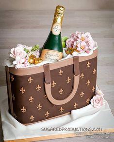 3D designer purse, bursting with an edible champagne bottle
