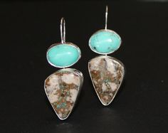 Double the turquoise beauty -  Nevada-mined blue paired with colorful Royston turquoise.