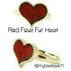 Gold & Red Faux Fur Heart Ring Gold & Red Faux Fur Heart Ring Adjustable Sizing. Gold Plated nickel and lead free T&J Designs Jewelry Rings