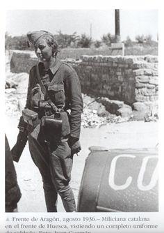 Miliciana catalana en el frente de Huesca. Guerra Civil española