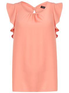 Dorothy Perkins peach laced back frill top