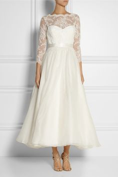 Marchesa|Lace and silk-organza gown|NET-A-PORTER.COM